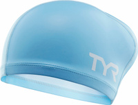 Шапочка для плавания Tyr Long Hair Silicone Comfort Swim Cap, цвет: голубой. LSCCAPLH