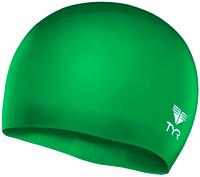 """Шапочка для плавания Tyr """"Wrinkle Free Junior Silicone Cap"""", цвет: зеленый. LCSJR"""