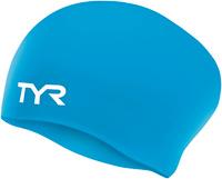 Шапочка для плавания Tyr Long Hair Wrinkle-Free Silicone Cap, цвет: голубой. LCSL