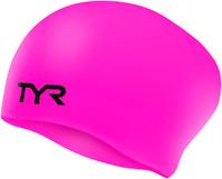 Шапочка для плавания Tyr Long Hair Wrinkle-Free Silicone Cap, цвет: розовый. LCSL