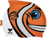 "Шапочка для плавания TYR ""Charactyrs Happy Fish Cap"", цвет: оранжевый, белый. LCSHFISH"