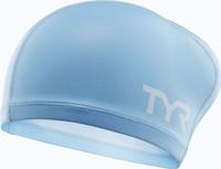 Шапочка для плавания TYR Silicone Comfort Long Hair Cap Junior, цвет: голубой. LSCCLHJR