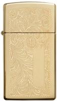 """Зажигалка Zippo """"Slim Venetian"""", цвет: золотистый, 3 х 1 х 5,5 см. 618"""