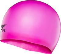Шапочка для плавания детская TYR Wrinkle Free Junior Silicone Cap, цвет: розовый
