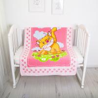 "Плед-одеяло байковое, 100х140, ""Котенок"", розовый"