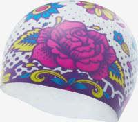Шапочка для плавания TYR Flower Power Swim Cap, LCSFLPOW, разноцветный