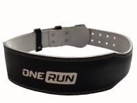 Кожанный ремень для фитнеса OneRun цвет черный, размер M