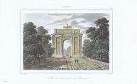 Гравюра Жан Дезоль Петергоф. Триумфальная арка. Офорт, акварельная раскраска. Франция, Париж, 1838 год