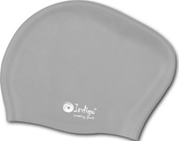 Шапочка для плавания Indigo Silicone, для длинных волос, цвет: серый