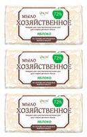 Мыло для стирки LINOM(БЕЛАРУСЬ) Настоящее 72. Для стирки детского белья. Яблоко. 3 штуки по 200 грамм.
