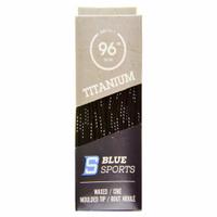 """Шнурки с пропиткой Blue Sports Titanium Lace Wax 96"""" (244 см.), Черный/Белый"""
