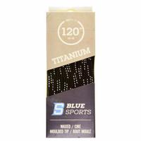 """Шнурки с пропиткой Blue Sports Titanium Lace Wax 120"""" (305 см.), Черный/Белый"""
