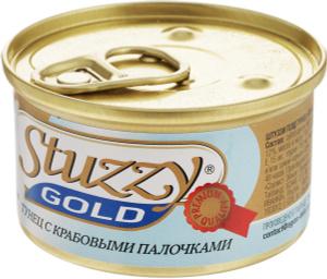 Купить Консервы для взрослых кошек Stuzzy Gold, тунец с крабовыми палочками в собственном соку, 85 г
