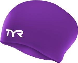 Купить Шапочка для плавания Tyr Long Hair Wrinkle-Free Silicone Cap, цвет: фиолетовый. LCSL