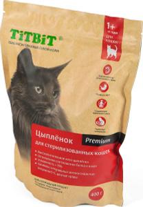 Купить Корм сухой Titbit, для стерилизованных кошек, с мясом цыпленка, 0,4 кг
