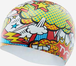 Купить Шапочка для плавания TYR Comic Action Swim Cap, LCSCOMIC, разноцветный