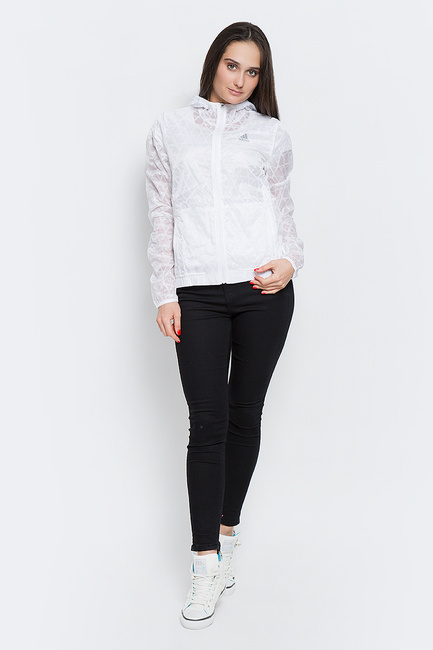 gobierno Tomate Cerebro  Ветровка женская adidas Run Transp JKT, цвет: белый. AP8439. Размер 36 (42)