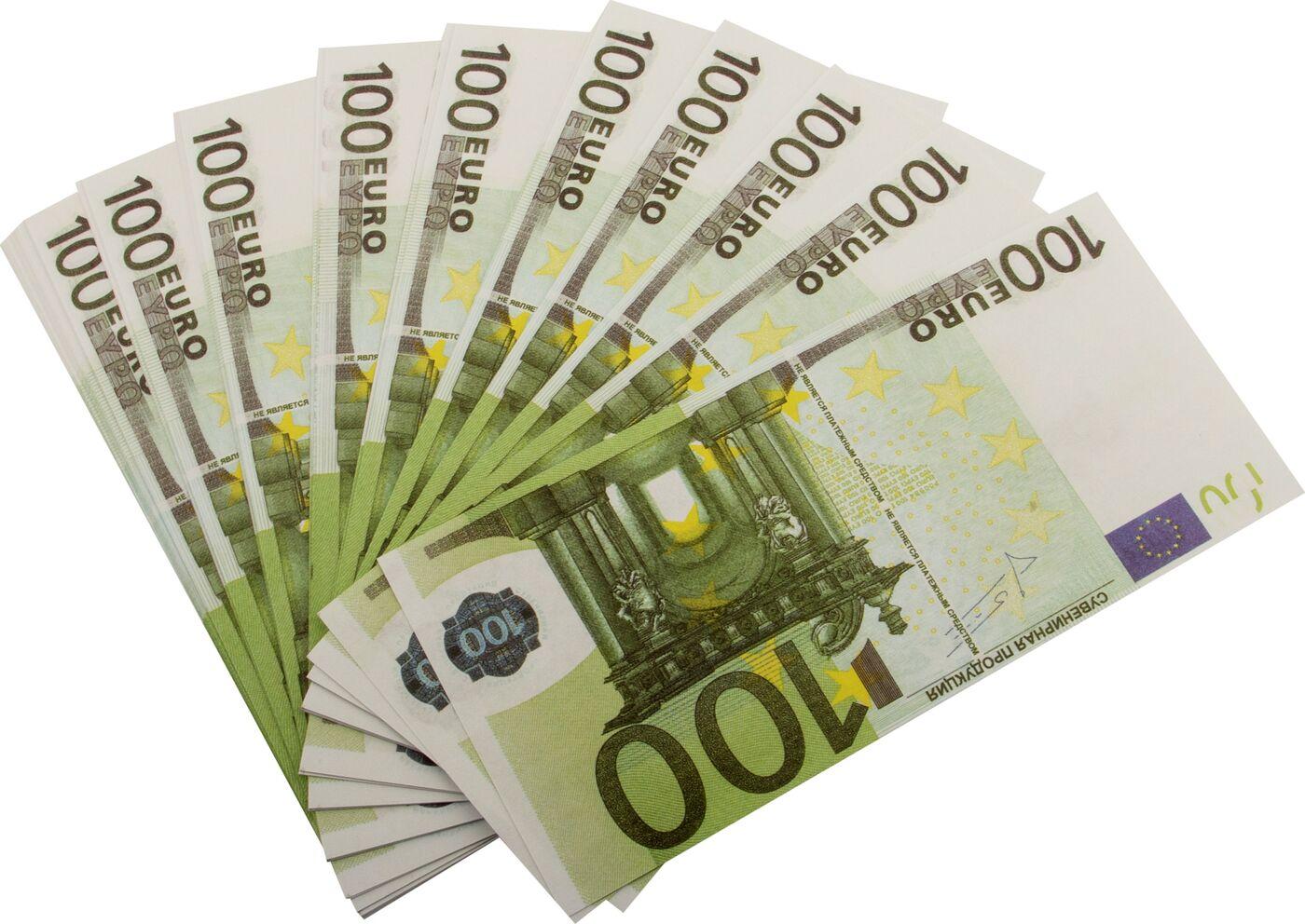 Сувенирные деньги Эврика Забавная пачка 100 евро сувенир печатная продукция сувенирные деньги 100 дублей