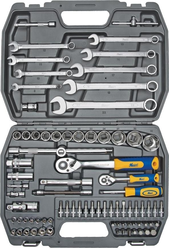 Набор ручного инструмента KRAFT КТ 700305 (82 предмета) рукоятка kraft трещоточная с быстрым сбросом 3 8dr kt 700362