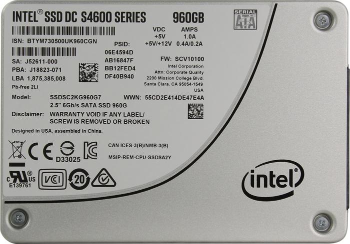 SSD накопитель Intel S4600 Series 960GB, SSDSC2KG960G701