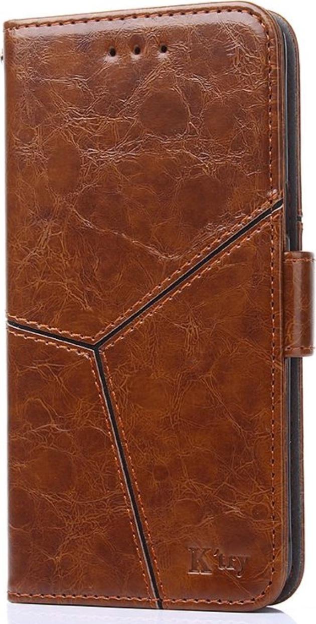 Чехол-книжка MyPads для Nokia 7.2/ Nokia 6.2 из качественной импортной кожи прошитый по контуру с необычным геометрическим швом цвет коричневый