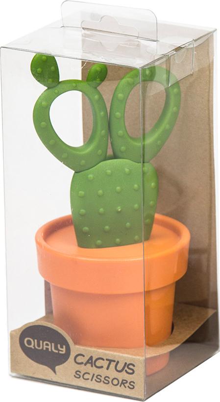 Ножницы Qualy Cactus с держателем, оранжевые с зеленым