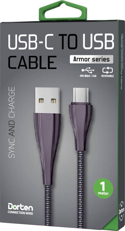Кабель Dorten USB-C to USB Armor Series 1м, черный