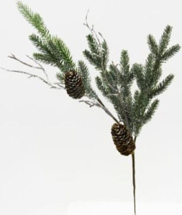 Ветка декоративная новогодняя, DN-53369, зеленый, длина 42 см