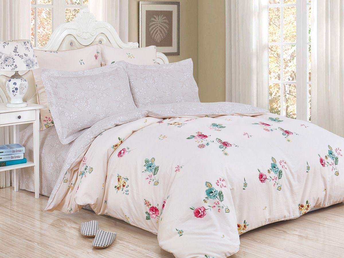 Комплект постельного белья Cleo Satin de' Luxe Саввели, 20/523-SK, светло-бежевый, 2-спальный, наволочки 70x70