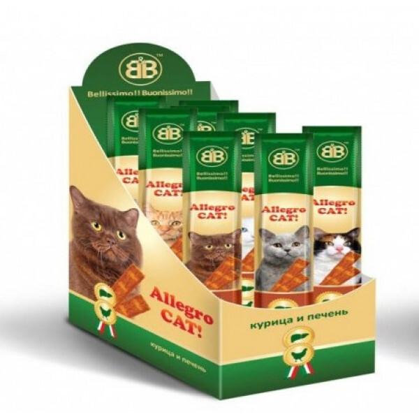 Лакомства для кошек B&b Allegro Cat мясные колбаски из Курицы и Печени 60шт (Шоу-Бокс), 470 гр
