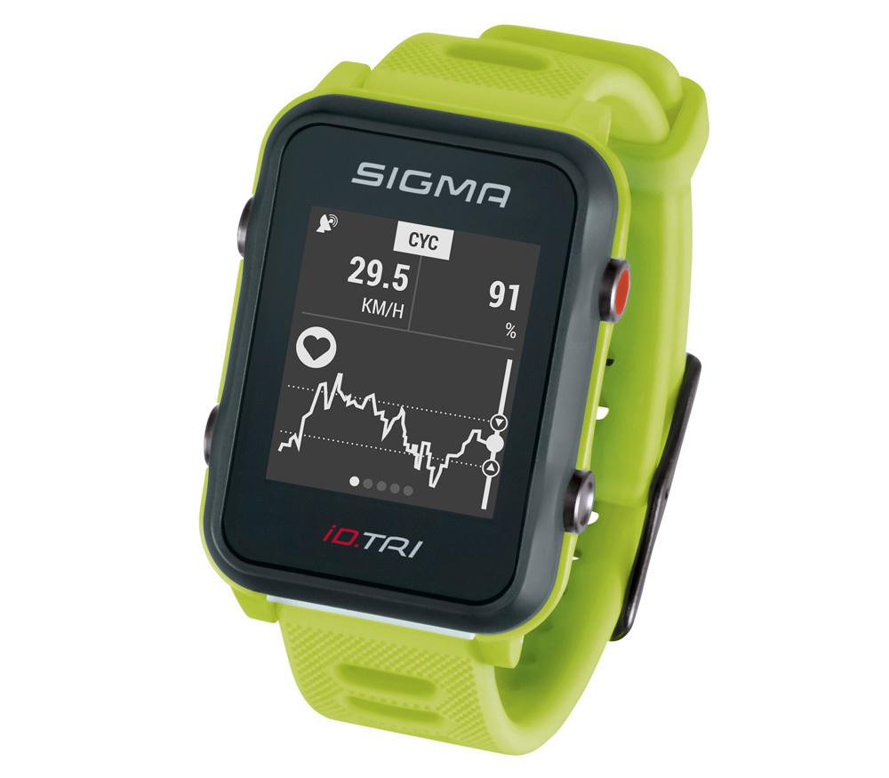 Мультиспортивные часы SIGMA ID.TRI NEON GREEN BASIC 24220, салат., часы c GPS, встроенный пульсомер, для триатлона