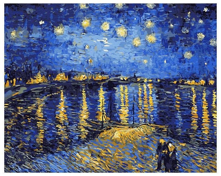 Картина по номерам 40х50см, Звездная ночь. Ван Гог