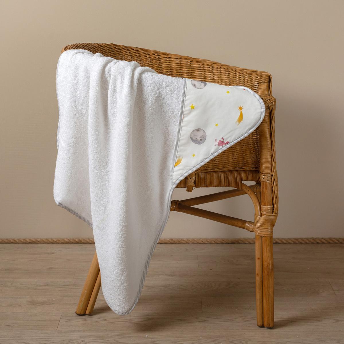Полотенце детское с капюшоном Заяц на подушке ET15-03 Хлопок, белый  #1