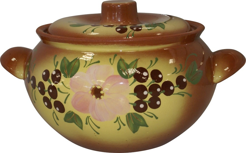 Посуда керамическая Жаровня малая 2л (с росписью) (молочение) 114401 Кунгурская керамика  #1