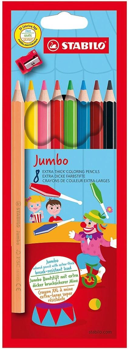 Карандаши цветные STABILO Jumbo, утолщенные, с точилкой, 8 цветов, в выдвигающейся коробке-пенале  #1