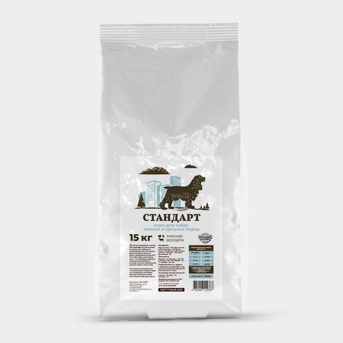 Хороший Хозяин Стандарт корм для собак мелких и средних пород мясное ассорти 15кг  #1