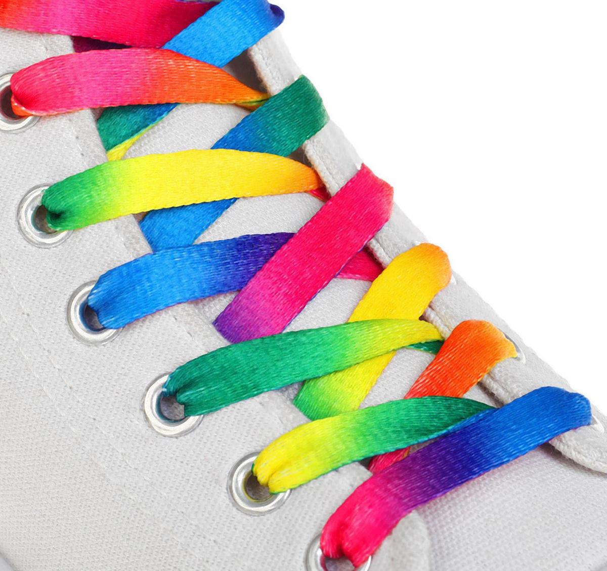 Шнурки для обуви плоские, 8 мм, 90 см, разноцветные #1