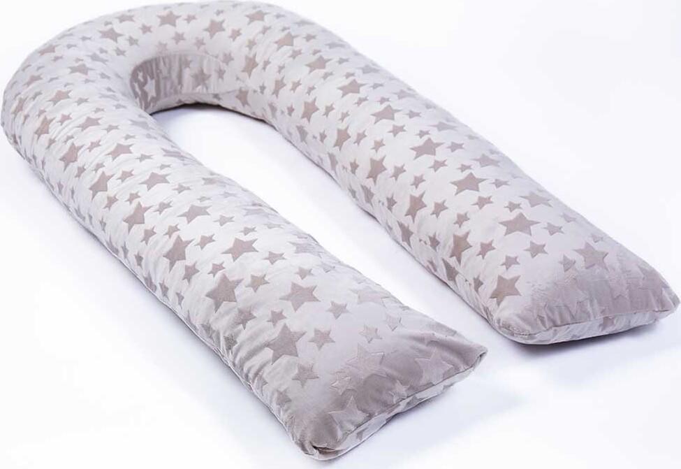 Наволочка на подушку для беременных MommyPillow U 320 см Серые звезды подушка для кормящих и беременных mommypillow u 120 коралловый