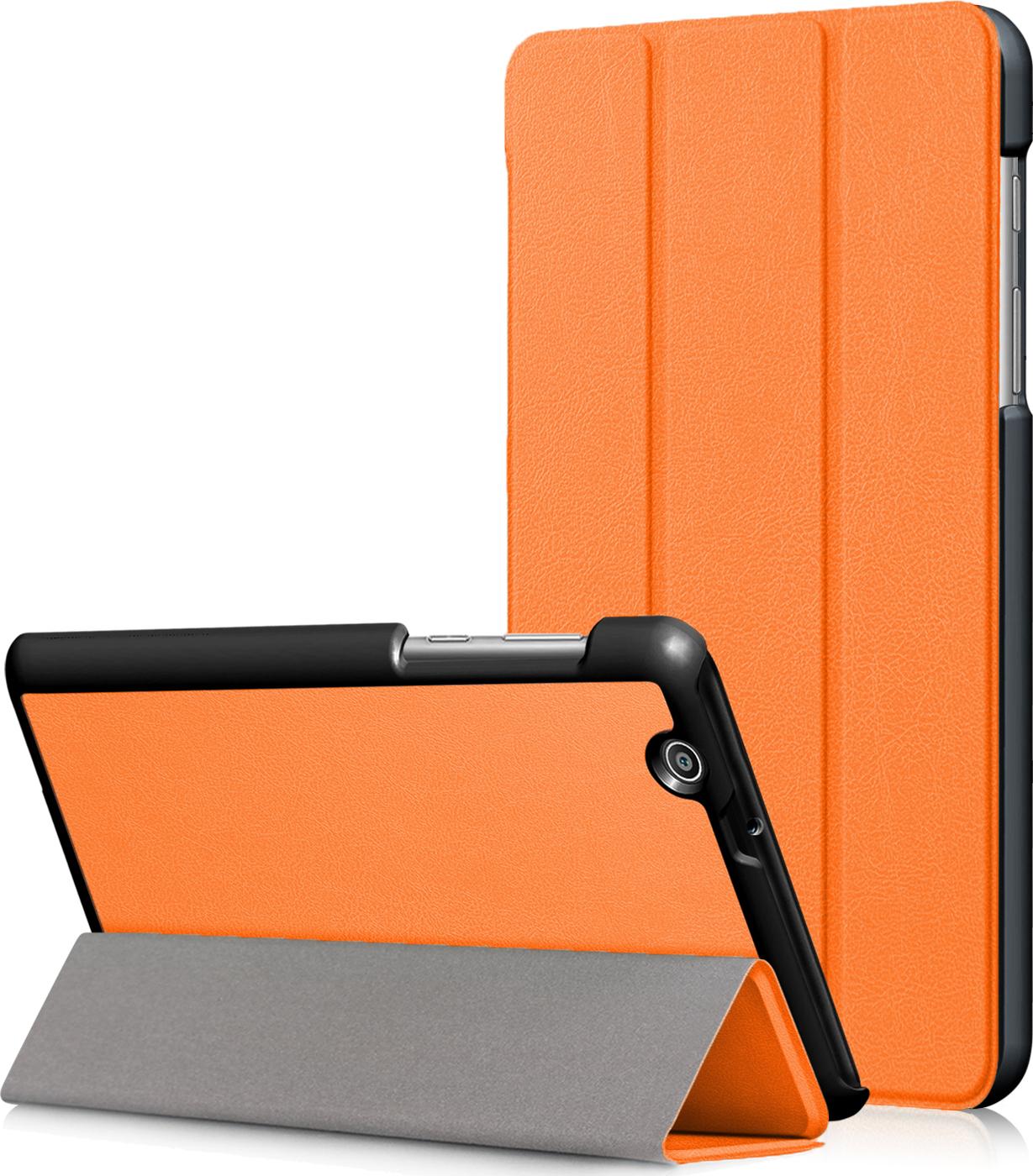 Чехол-обложка MyPads для Asus ZenPad C 7.0 Z170C тонкий умный кожаный на пластиковой основе с трансформацией в подставку оранжевый