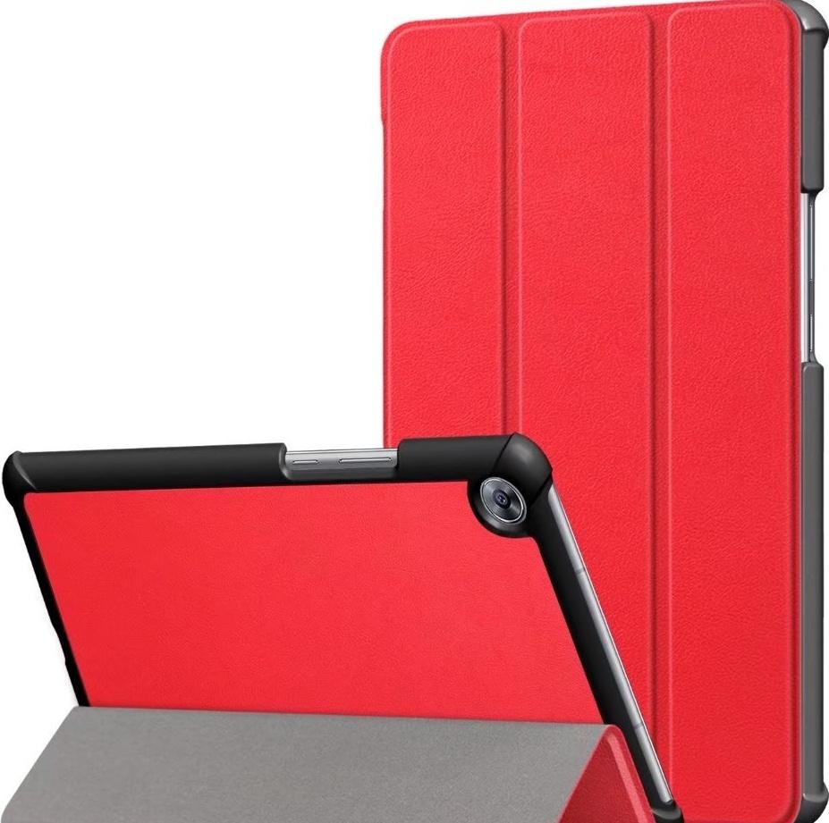 Чехол-обложка MyPads для Huawei MediaPad M5 8.4 тонкий умный кожаный на пластиковой основе с трансформацией в подставку красный