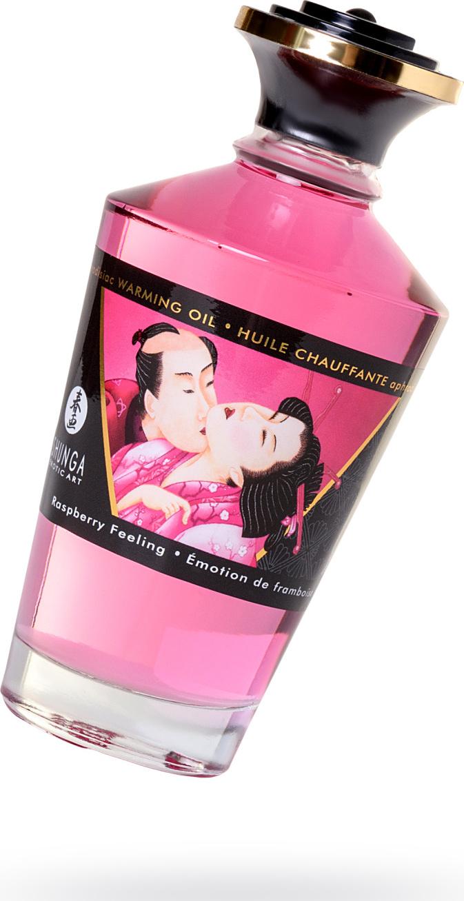 Масло для массажа Shunga Малиновое чувство, съедобное с согревающим эффектом, 100 мл.