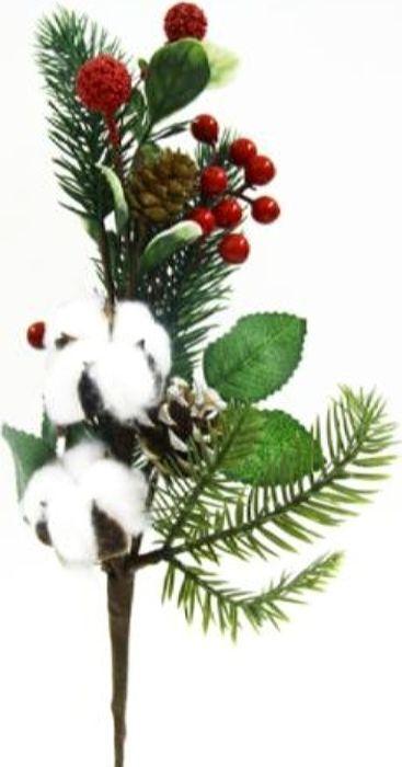 Ветка декоративная новогодняя, DN-53022, зеленый, белый, высота 39 см