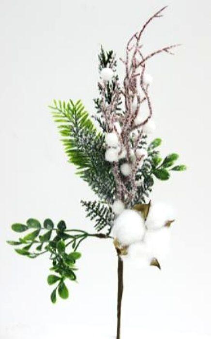 Ветка декоративная новогодняя, DN-53021, зеленый, белый, высота 35 см