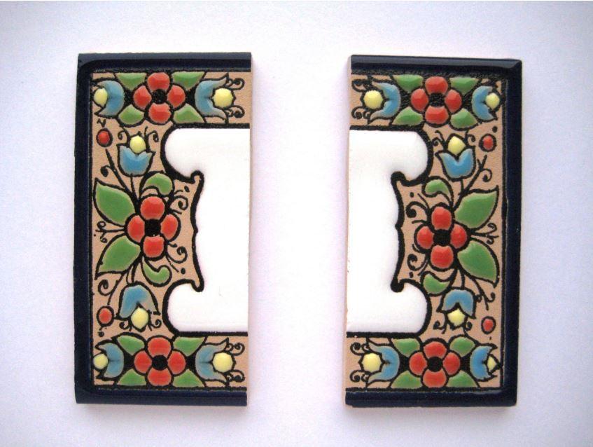 Набор бортов для номера на дверь керамический малый 2 шт по 3.75 х 7 см