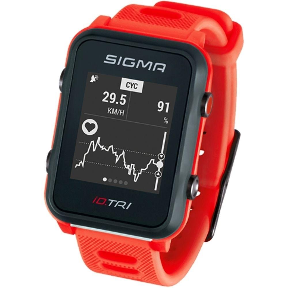 Мультиспортивные часы SIGMA ID.TRI NEON RED SET 24280, красн., часы c GPS, встроенный пульсомер, для триатлона + нагрудн. датчик