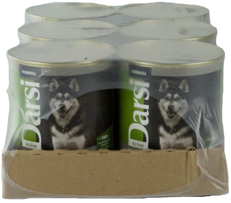 Влажный корм для активных и рабочих собак DARSI Сердце с печенью, Консервы (паштет), 6 шт x 850 гр