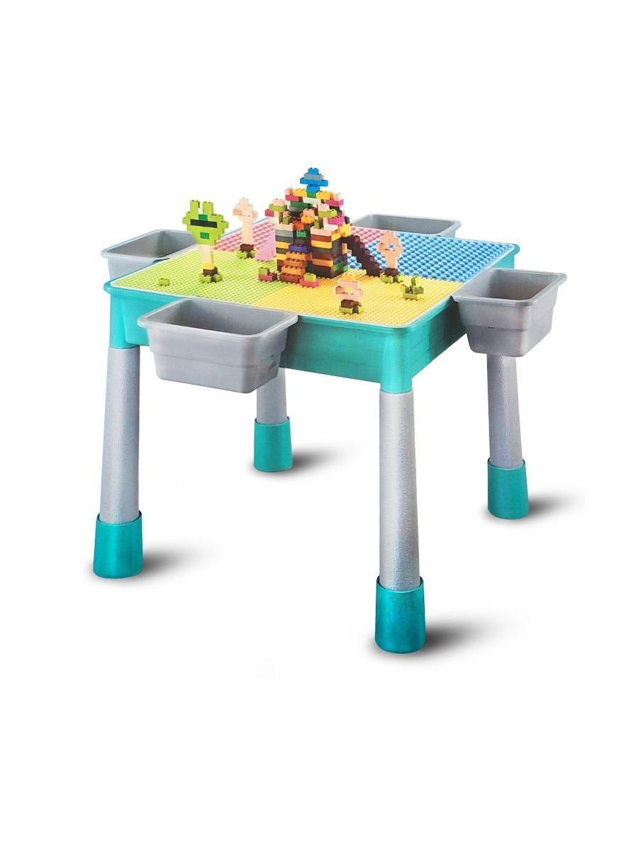 Стол для конструирования База игрушек 4 в 1, развивающий центр :детали, пластины для конструктора , рисование, хранение.
