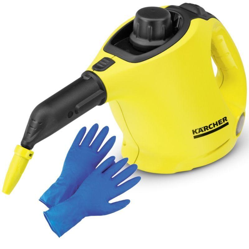Пароочиститель Karcher SC 1 EasyFix, Yellow Black + прочные латексные перчатки