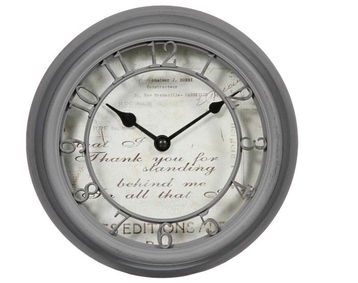 Часы настенные 21,5 см цвет серый-20124