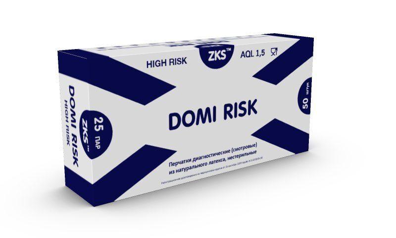 """Перчатки ZKS латексные сверхпрочные High Risk, """"Domi Risk"""" Размер M"""